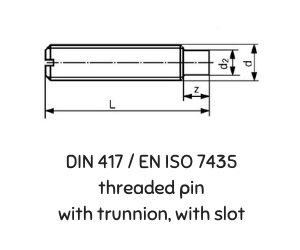 DIN 417 ISO 7435  TREADED PIN WITH TRUNNION WITH SLOT
