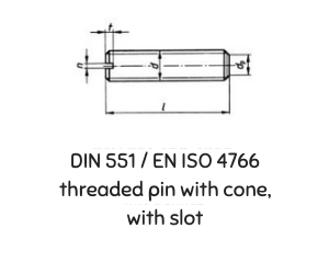 DIN 551 ISO 4766  THREADED PIN WITH CONE, WITH SLOT