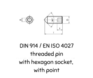 DIN 914 ISO 4027  THREADED PIN WITH HEXAGON SOCKET, WITH POINT