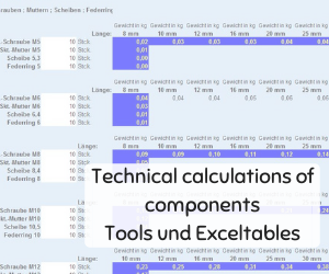 Technical calculations of components Tools und Exceltables
